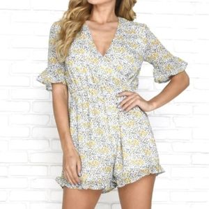 Floral ruffle milk maid style romper
